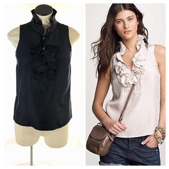 a5309411cbd84 J. Crew Tops - J. Crew Frances Silk Ruffle Cami Tank Top in Black